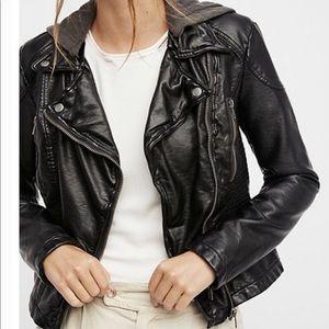 Black vegan leather motorcycle jacket free people